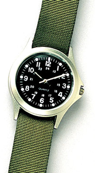 Military Style Quartz Watch - Olive Drab Strap