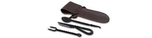 GDFB Period Spoon/Fork/Knife w/Leather Sheath OB3350
