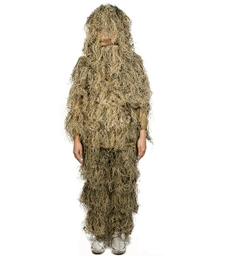 Adventure Gear Full Body 3-Piece Concealment Ghillie Suit Set for Children - Desert (Size: Small/Medium)