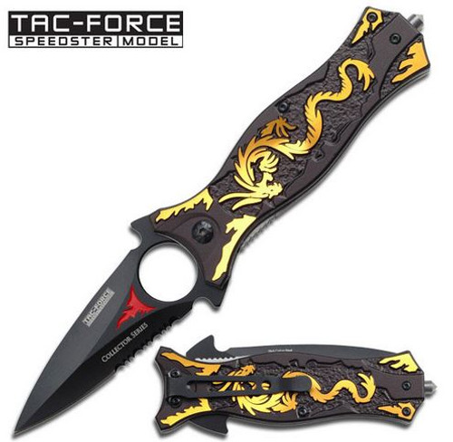 Tac Force 707GD Gold Dragon Dagger Folder