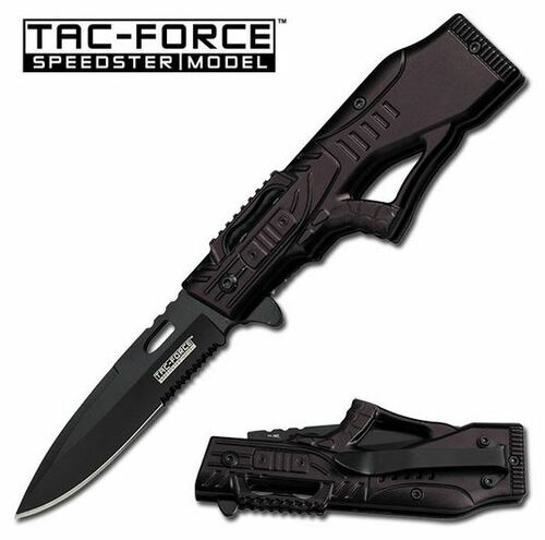 Tac Force 763BK Black Partially Serrated Assisted