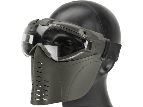 Matrix Pro-Goggle Airsoft Full Face Mask w/ Integrated Fan - OD Green