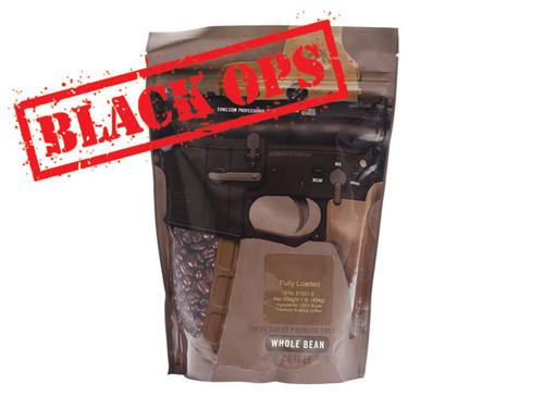 "Guns & Coffee ™ ""Fully Loaded"" 100% Arabica Premium Coffee - ""Black Ops"" Dark Roast / 1lb Sealed Bag"