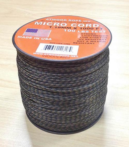 Micro Cord 100 lb, 1000 Ft. Spool - Woodland Camo