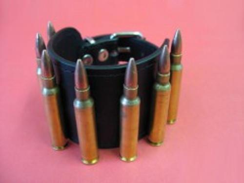 Leather Bullet Bracelet - Brass