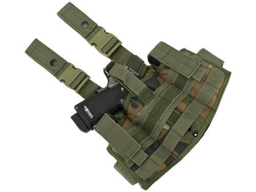 Phantom Gear Navy Seal Drop Leg Thigh Holster Rig - Woodland Camo