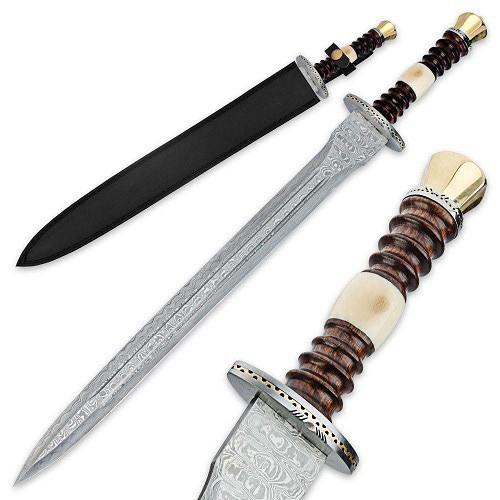 Legends in Steel Renaissance Damascus Sword- Wood & Bone Handle