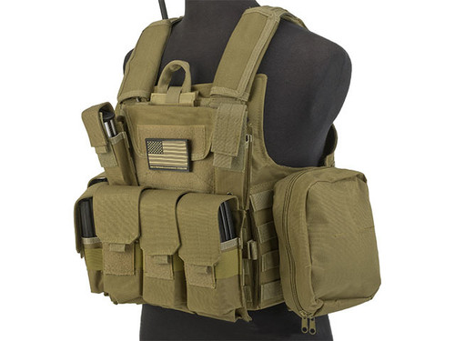 USMC Style C.I.R.A.S. Type Force Recon Tactical Vest w/ Full Pouch System - Dark Earth
