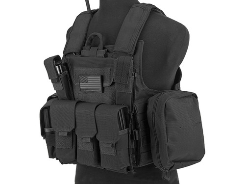USMC Style C.I.R.A.S. Type Force Recon Tactical Vest w/ Full Pouch System - Black