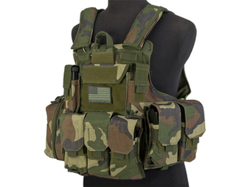 USMC Style C.I.R.A.S. Type Force Recon Tactical Vest w/ Full Pouch System - Woodland