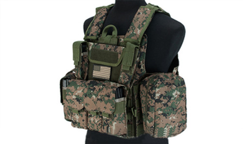 USMC Style C.I.R.A.S. Type Force Recon Tactical Vest w/ Full Pouch System - Digital Woodland