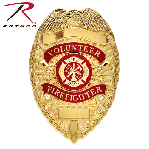 Rothco Deluxe Fire Department Badge - Gold