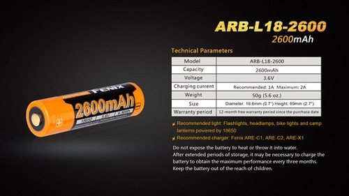 Fenix ARB-L18 Rechargeable 18650 Battery - 2600mAh