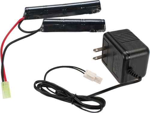 AEG Battery Starter Package w/ Basic Charger (Battery: 8.4v 1600mAh Small Butterfly Type)