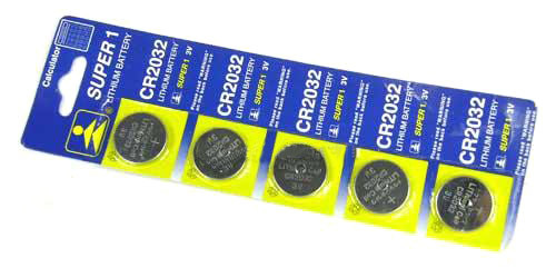 CR2032 3V Micro Lithium Battery (Package: 5 pcs)