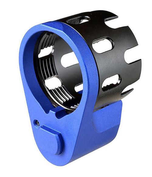 Strike Industries AR Enhanced Castle Nut & Extended End Plate (Color: Blue)