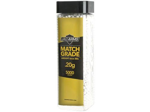 JAG Armament Match Grade Airsoft BBs - White (QTY: 1 Bottle / 0.20g 5,000 Rounds)