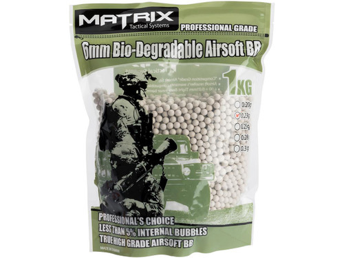 0.23g Match Grade Biodegradable 6mm Airsoft BB by Matrix - 1KG / 4247 Rounds (Natural Sand Color)