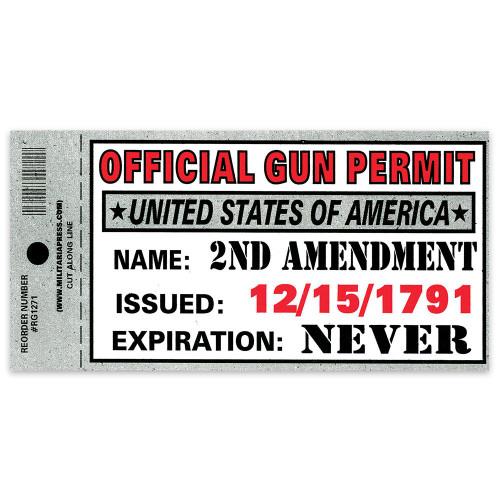 Bumper Sticker - Official Gun Permit 3x10