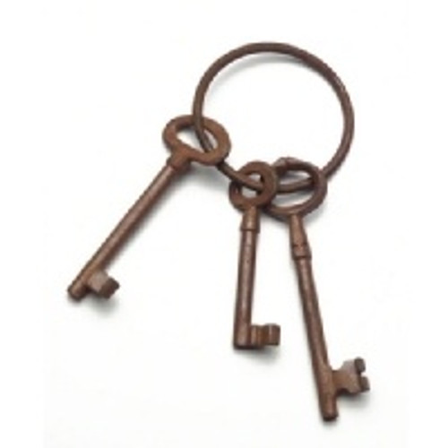 Western Jailer's Keys w/Metal Antiqued Finish