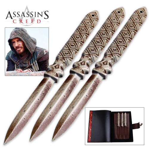 Assassin's Creed Aguilar's Throwing Knife Replica Set w/Faux Leather Pouch, Journal Box
