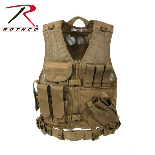 Rothco Cross Draw MOLLE Tactical Vest - Coyote Brown