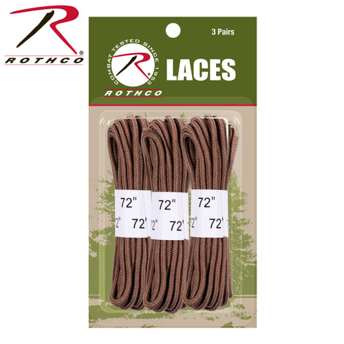 "Rothco 72"" Boot Laces - 3 Pack - Coyote Brown"