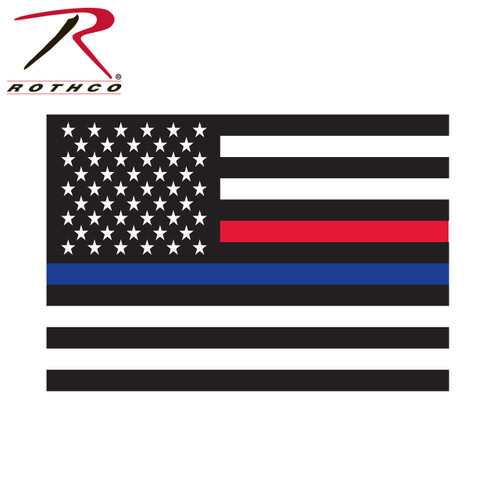 Decal - Rothco Thin Blue Line & Thin Red Line Flag
