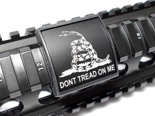 Custom Gun Rails (CGR) Small Laser Engraved Aluminum Rail Cover - Don't Tread On Me/ BLK/BLK
