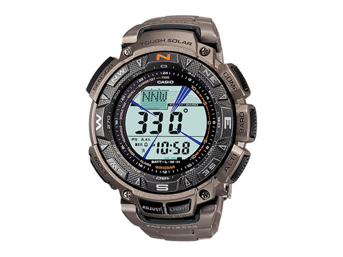 Casio Men's PAG240T-7CR Pathfinder Triple-Sensor Stainless Steel Watch with Titanium Bracelet