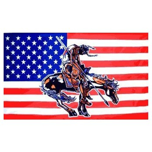 """U.S. Native Indian """"End Of The Trail"""" American Flag"""