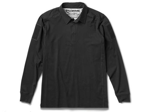 Cannae Professional Operator Long Sleeve Cotton Polo Shirt - Black