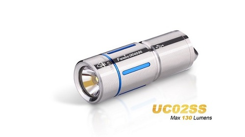 Fenix UC02 Rechargeable Light 130 Lumens- Stainless w/ Blue Trim