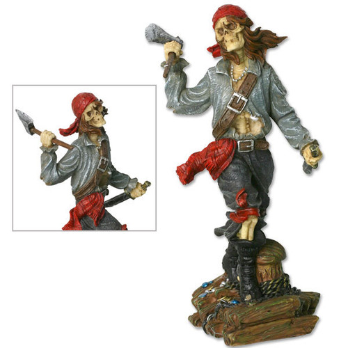 "MC PL514 Skull Pirate with Axe Figurine 6"" Overall"
