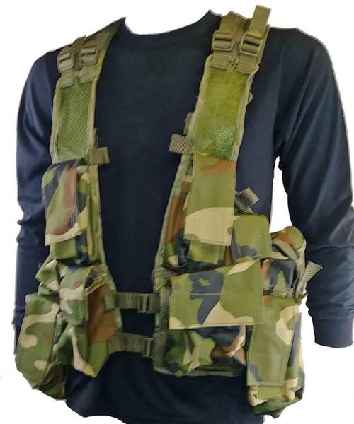 Military Style Camo Tac Vest - Woodland