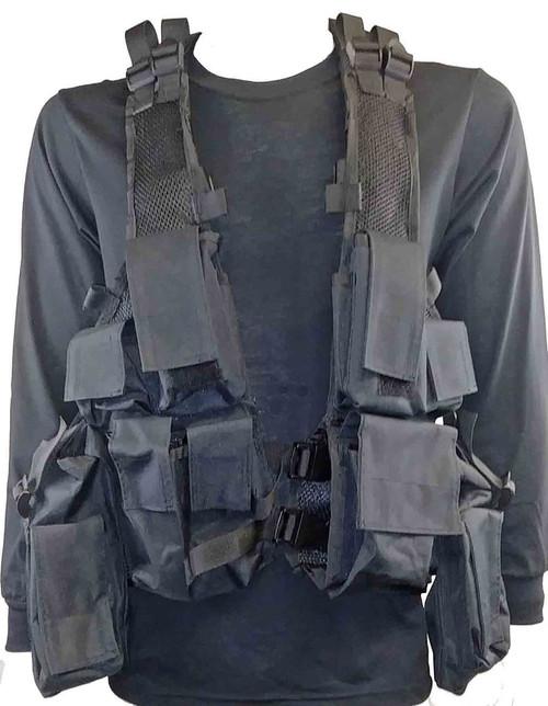 Military Style Camo Tac Vest - Black