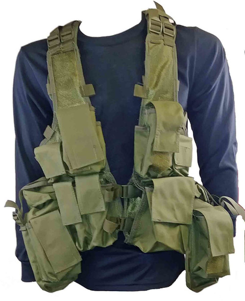 Military Style Camo Tac Vest - Olive Drab