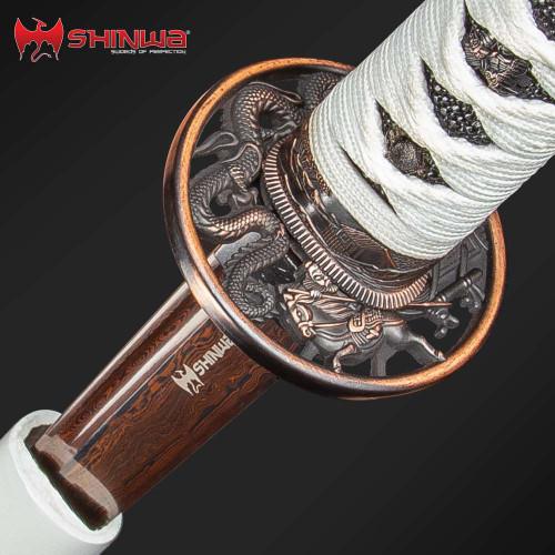 Shinwa Knight Katana Sword Damascus - White