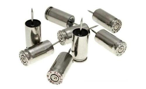 Lucky Shot USA 9mm Once Fire Ammunition Push Pins- Nickel (Set of 5)
