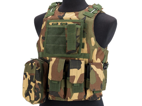 Avengers Military Style MOD-II Quick Release Body Armor Vest - Woodland