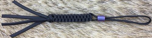 WE Knife A-01B Lanyard Black w/ Purple Ti Bead