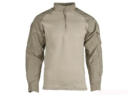 Tru-Spec Tactical Response Uniform 1/4 Zip Combat Shirt - Khaki (Size: Large)