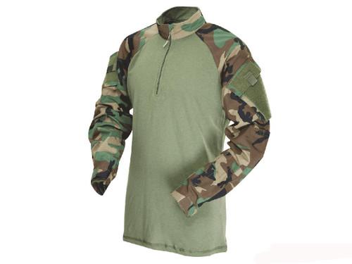 Tru-Spec Tactical Response Uniform 1/4 Zip Combat Shirt - Woodland (Size: Medium)