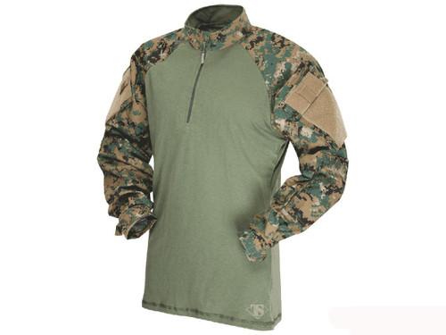 Tru-Spec Tactical Response Uniform 1/4 Zip Combat Shirt - Woodland Digital (Size: Small)
