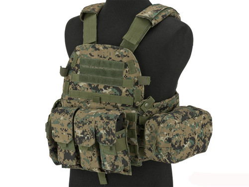 Avengers 6D9T4A Tactical Vest with Magazine and Radio Pouches - Digital Woodland