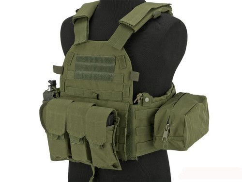 Avengers 6D9T4A Tactical Vest with Magazine and Radio Pouches - OD Green