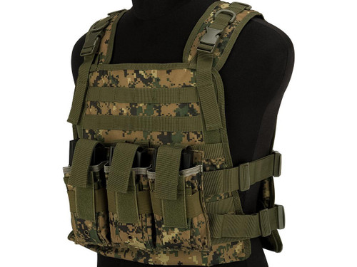 Matrix 600D MOLLE Plate Carrier Tactical Package with Hydration Carrier (Color: Digital Woodland)