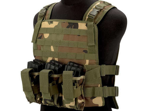 Matrix 600D MOLLE Plate Carrier Tactical Package with Hydration Carrier (Color: Woodland)