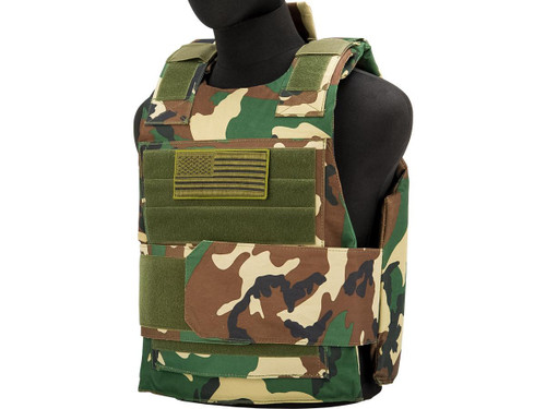Matrix Delta Force Style Body Armor Shell Vest w/ US Flag Patch (Color: Woodland)