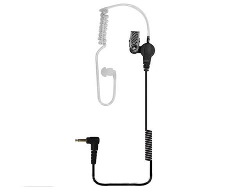 """Code Red Headsets TangoJr 3.5mm Listen-Only Earpiece w/ 14"""" Coiled Cord Clear Acoustic Tube"""